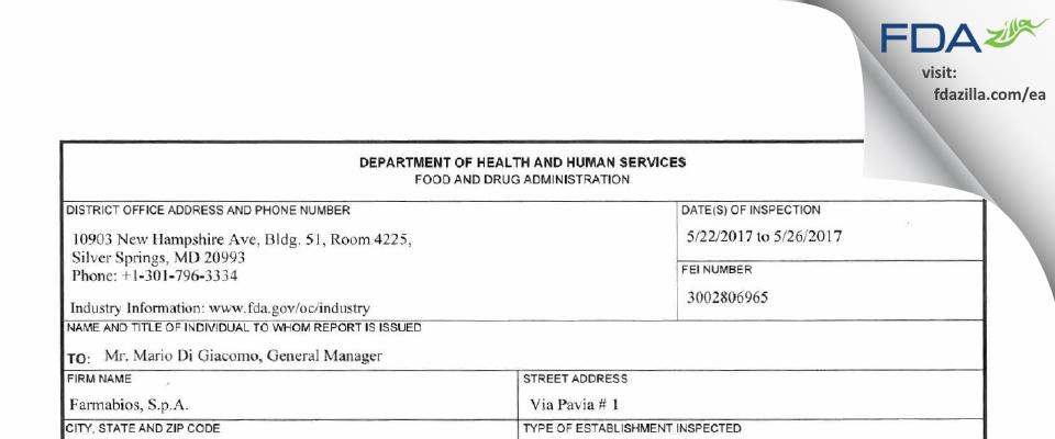 Farmabios, S.p.A. FDA inspection 483 May 2017