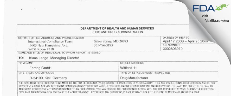 Ferring FDA inspection 483 Apr 2008