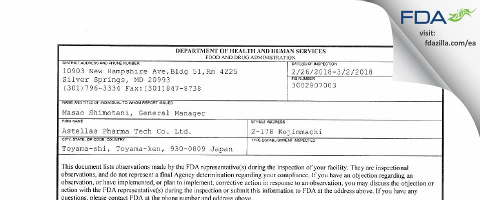 Astellas Pharma Tech FDA inspection 483 Mar 2018