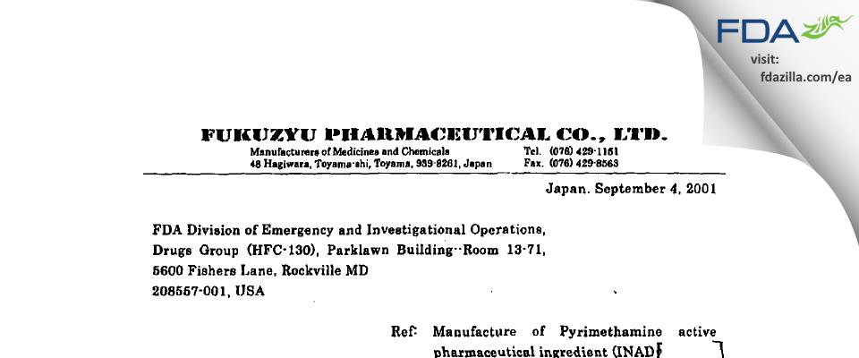 Fukuzyu Pharmaceutical FDA inspection 483 Aug 2001