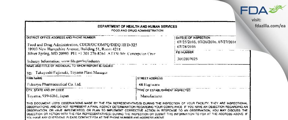 Fukuzyu Pharmaceutical FDA inspection 483 Jul 2016