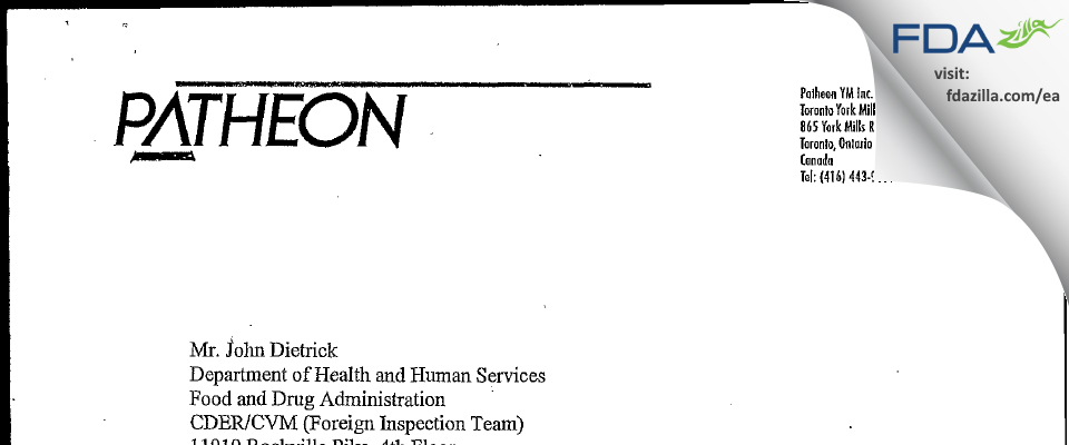 Patheon FDA inspection 483 Nov 2003