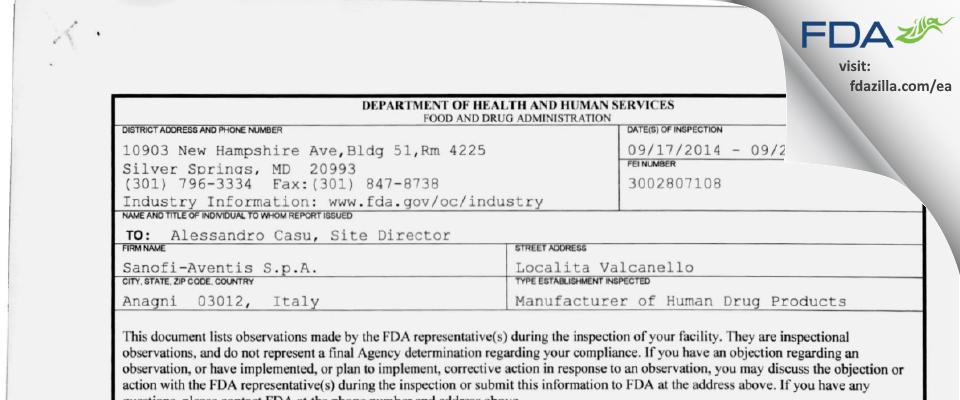 Sanofi S.p.A. FDA inspection 483 Sep 2014
