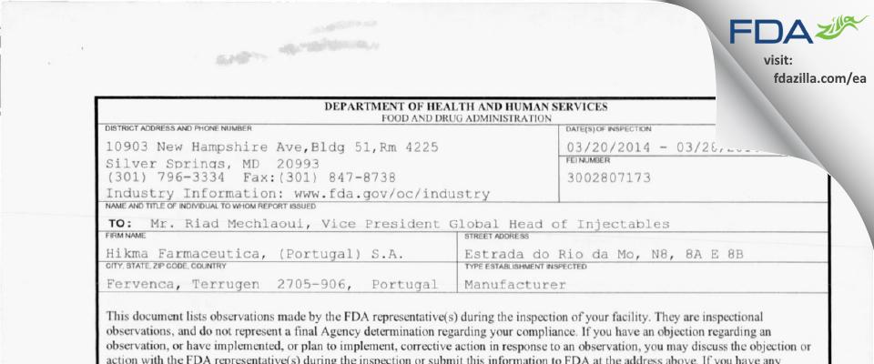 Hikma Farmaceutica, (Portugal) FDA inspection 483 Mar 2014