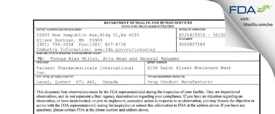 Valeant Pharmaceuticals International FDA inspection 483 Feb 2015