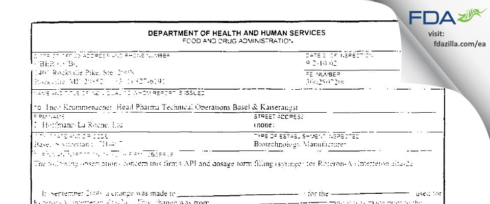 F. Hoffmann-La Roche AG FDA inspection 483 Aug 2000