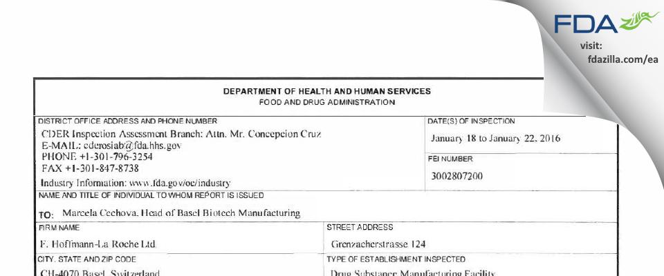 F. Hoffmann-La Roche AG FDA inspection 483 Jan 2016