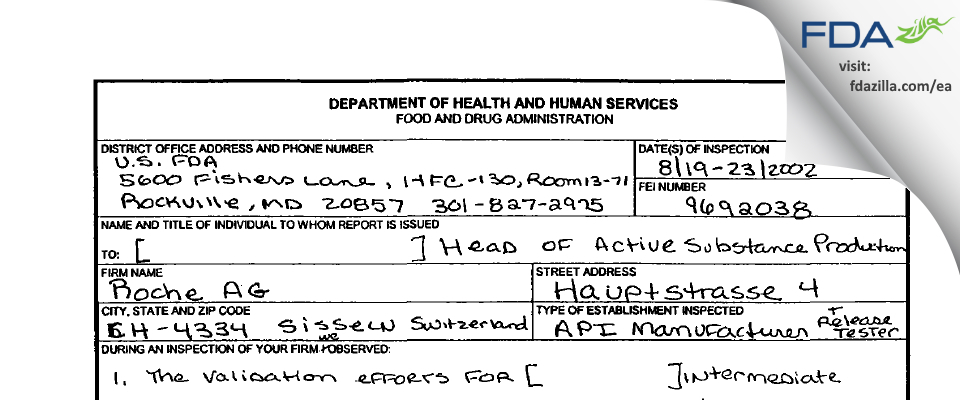 DSM Nutritional Products AG FDA inspection 483 Aug 2002