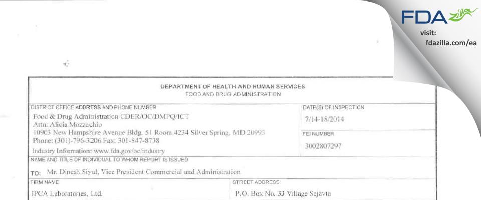 Ipca Labs FDA inspection 483 Jul 2014
