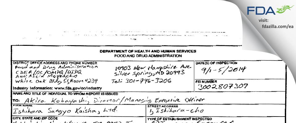 Ishihara Sangyo Kaisha FDA inspection 483 Sep 2014