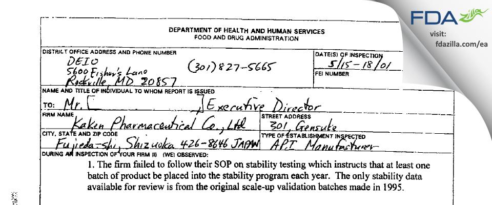 Kaken Pharmaceutical FDA inspection 483 May 2001