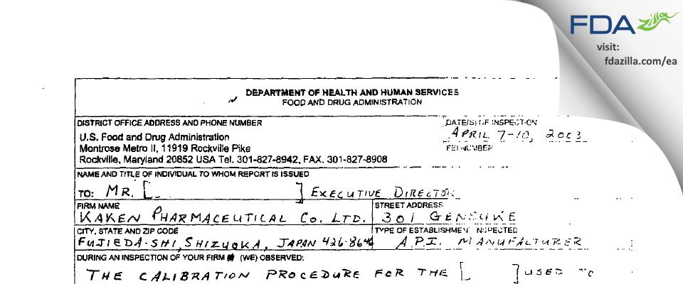 Kaken Pharmaceutical FDA inspection 483 Apr 2003