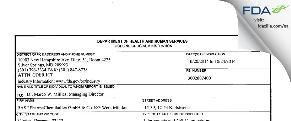 Siegfried PharmaChemikalien Gmbh & KG FDA inspection 483 Oct 2014