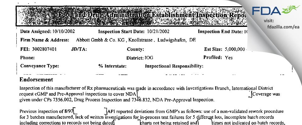 AbbVie Deutschland & KG FDA inspection 483 Oct 2002