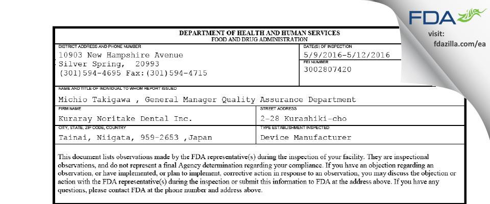Kuraray Noritake Dental FDA inspection 483 May 2016