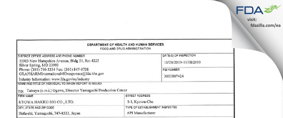 Kyowa Hakko Bio FDA inspection 483 Nov 2019