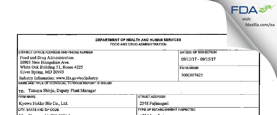 Kyowa Hakko Bio FDA inspection 483 Sep 2017