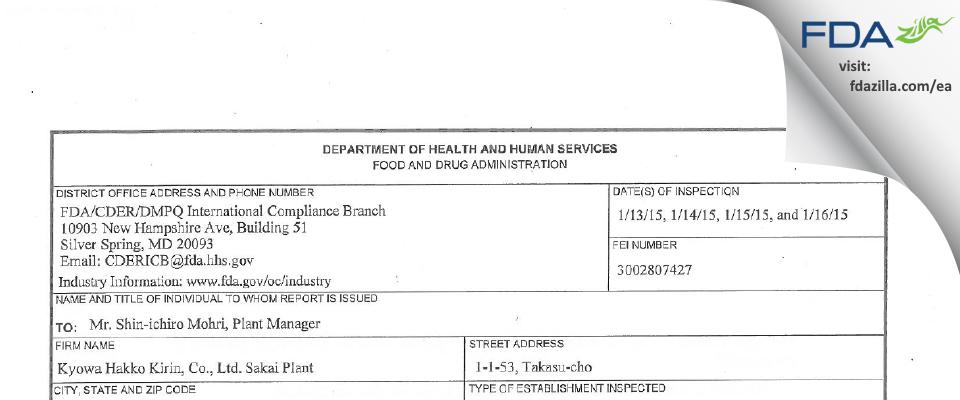 Kyowa Hakko Kirin FDA inspection 483 Jan 2015