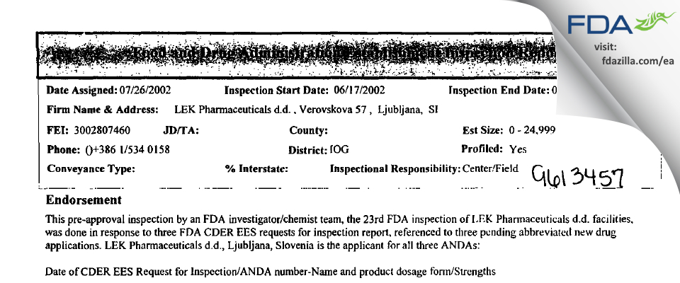 LEK Pharmaceuticals dd FDA inspection 483 Jul 2002