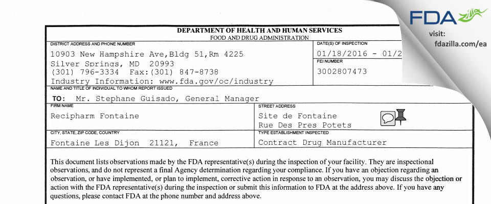 Recipharm Fontaine FDA inspection 483 Jan 2016
