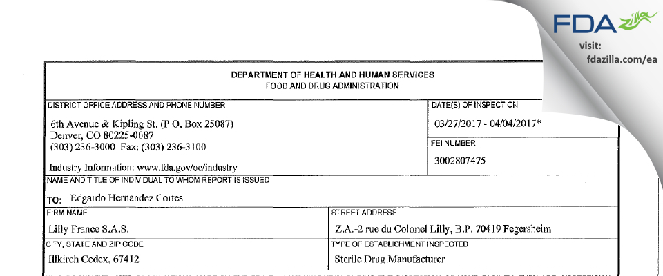 Lilly FranceS. FDA inspection 483 Apr 2017