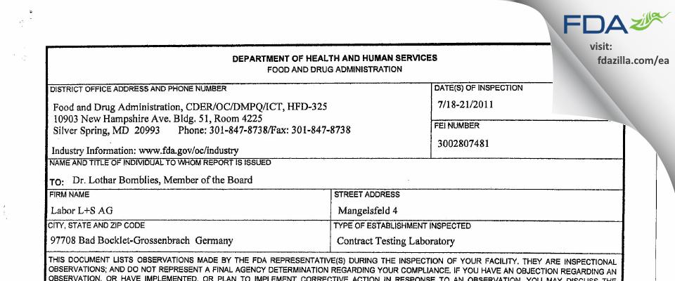 Labor L+S AG FDA inspection 483 Jul 2011