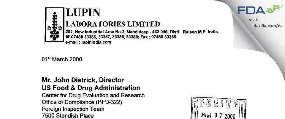 Lupin FDA inspection 483 Feb 2000