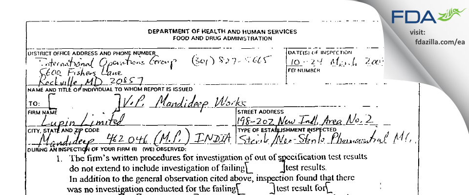 Lupin FDA inspection 483 Mar 2003