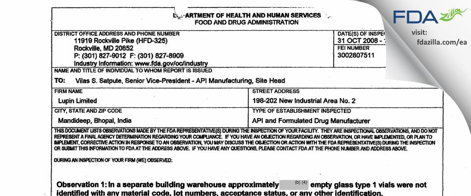 Lupin FDA inspection 483 Nov 2008
