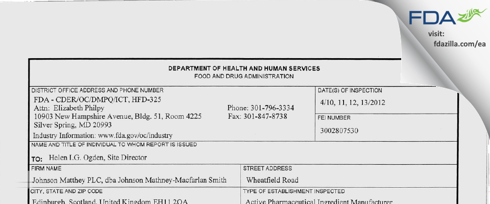 Macfarlan Smith FDA inspection 483 Apr 2012