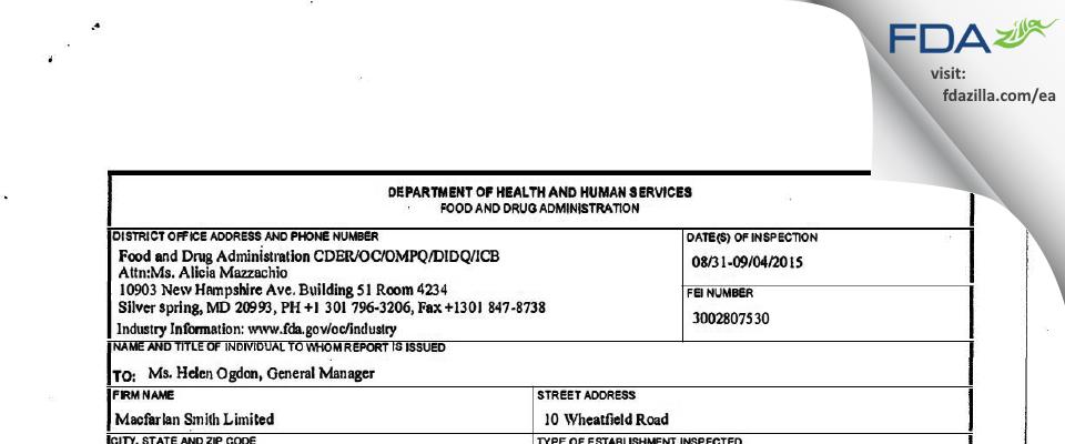 Macfarlan Smith FDA inspection 483 Sep 2015