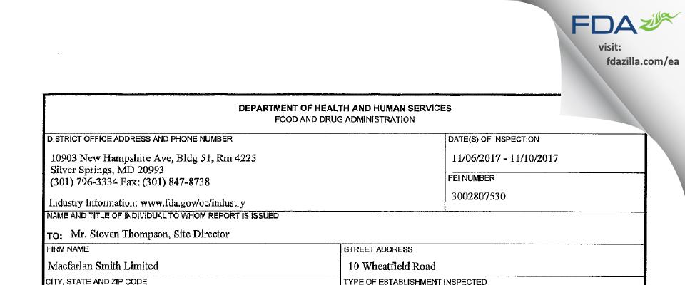 Macfarlan Smith FDA inspection 483 Nov 2017