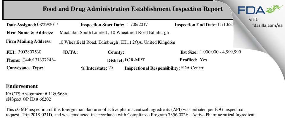 Macfarlan Smith FDA inspection 483 Nov 2017