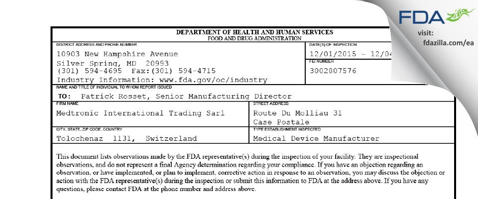 Medtronic International Trading Sarl FDA inspection 483 Dec 2015