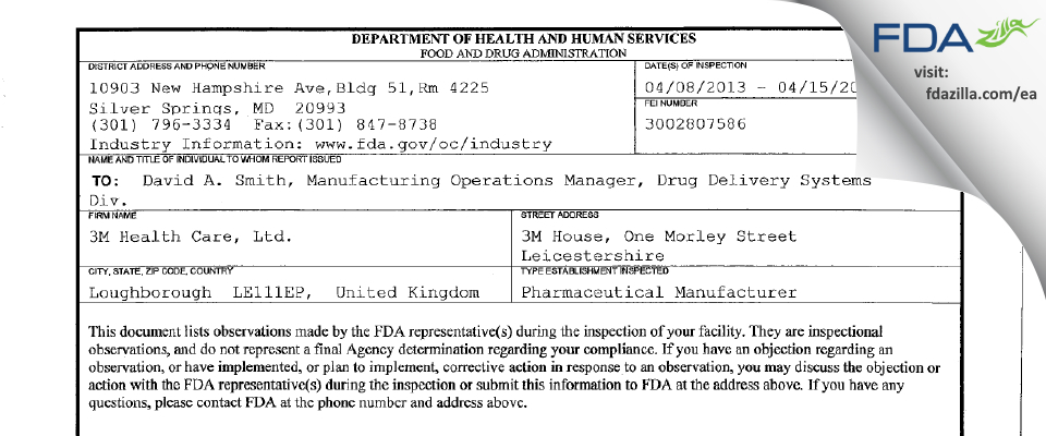 3M Health Care FDA inspection 483 Apr 2013