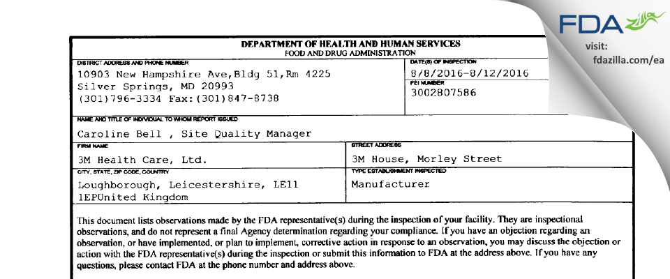 3M Health Care FDA inspection 483 Aug 2016