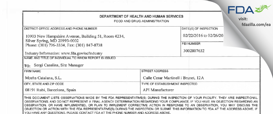Moehs Catalana S.L. FDA inspection 483 Feb 2016