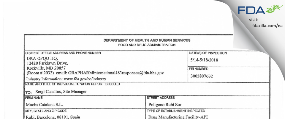 Moehs Catalana S.L. FDA inspection 483 May 2018