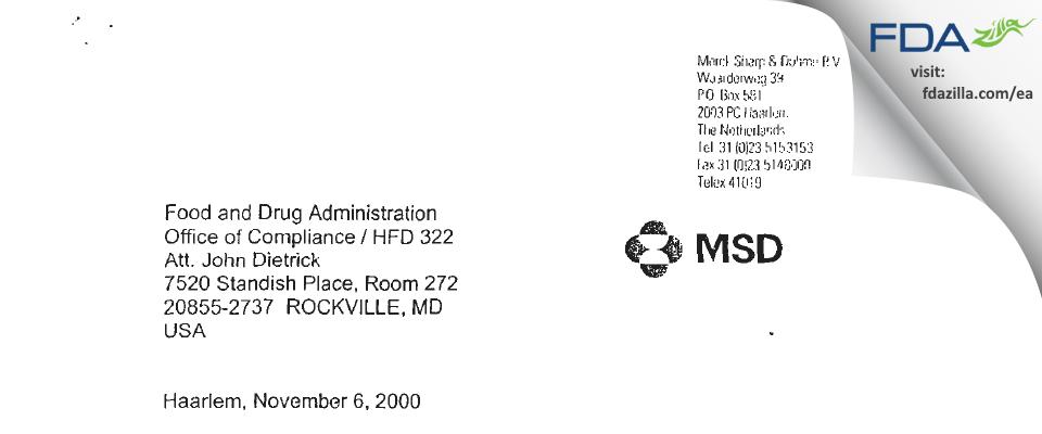 Merck Sharp & Dohme BV FDA inspection 483 Oct 2000