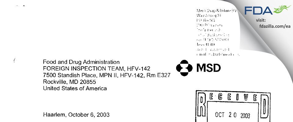 Merck Sharp & Dohme BV FDA inspection 483 Sep 2003