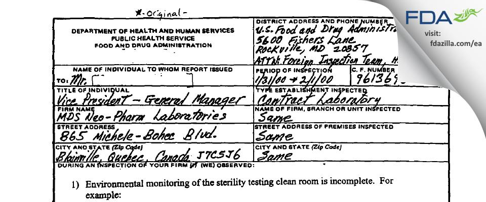 Neopharm Labs FDA inspection 483 Feb 2000