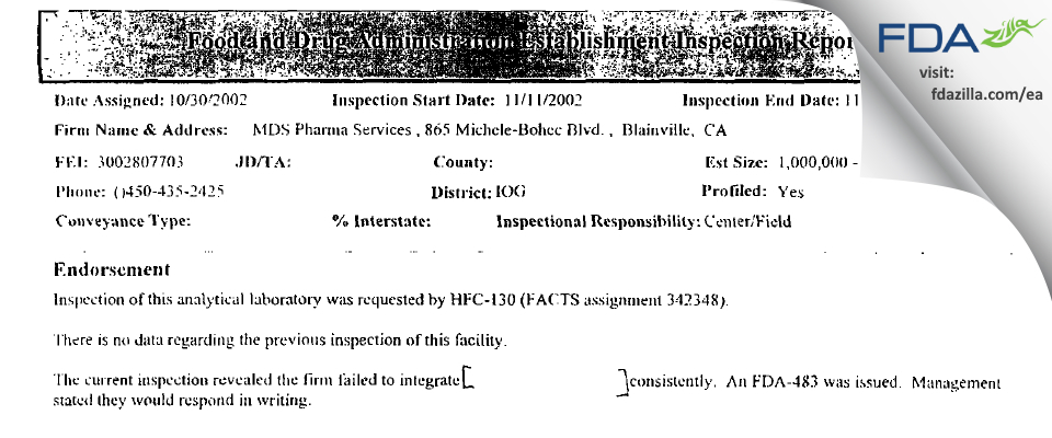Neopharm Labs FDA inspection 483 Nov 2002