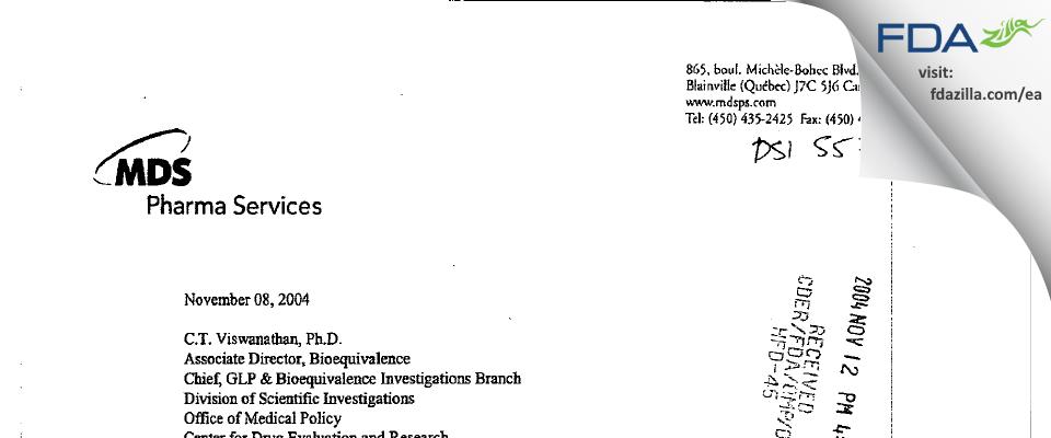 Neopharm Labs FDA inspection 483 Sep 2004