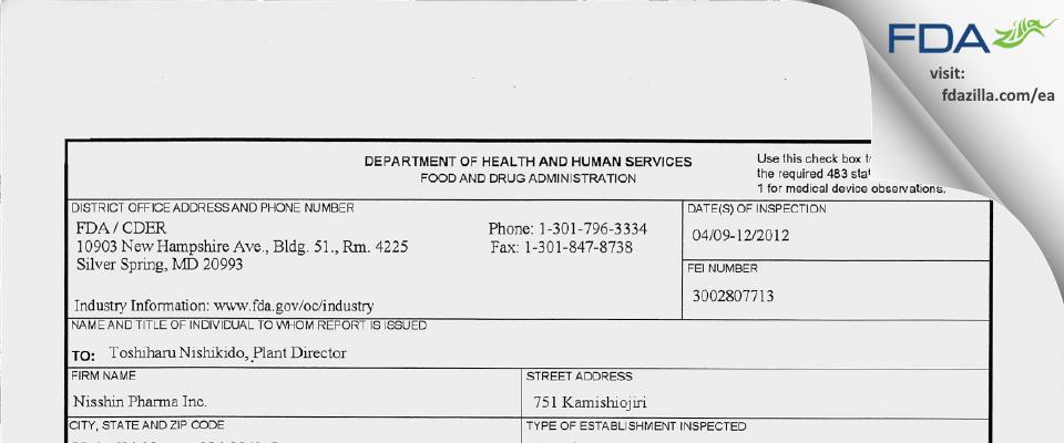 Nisshin Pharma FDA inspection 483 Apr 2012