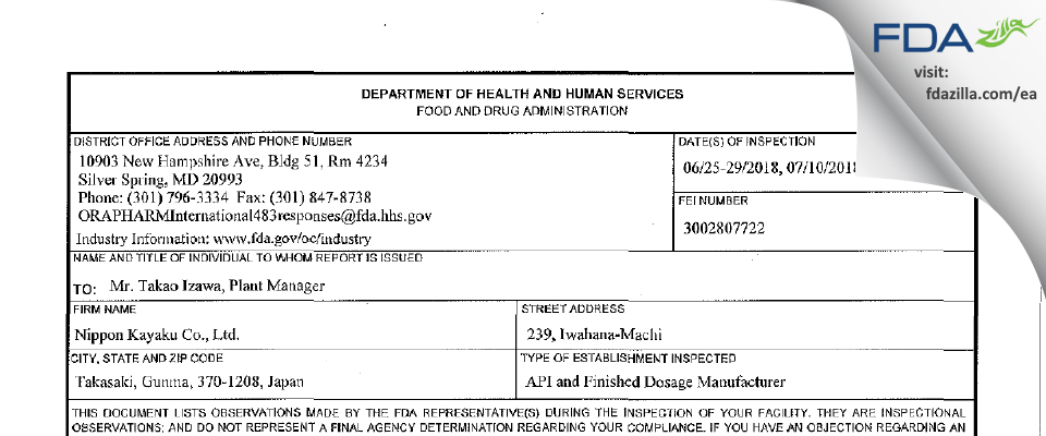 Nippon Kayaku FDA inspection 483 Jul 2018