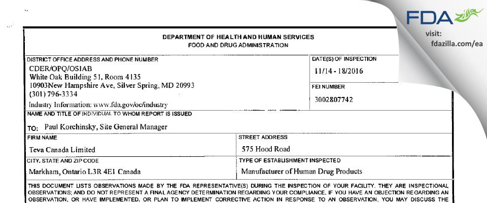 Teva Canada FDA inspection 483 Nov 2016