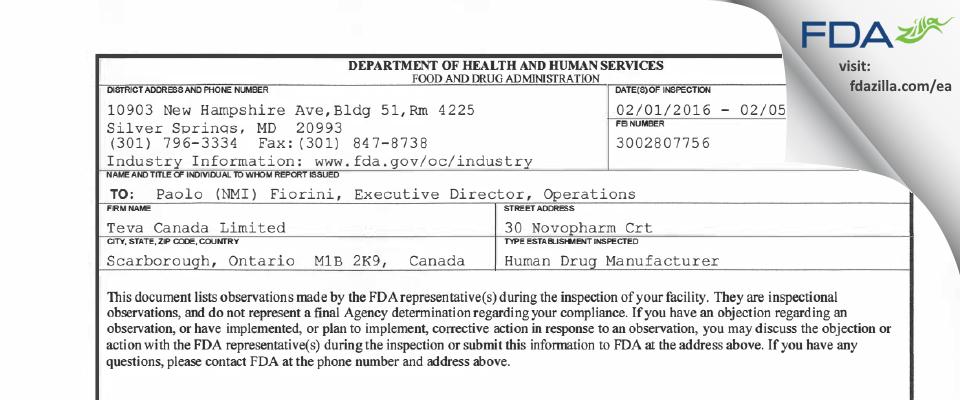 Teva Canada FDA inspection 483 Feb 2016