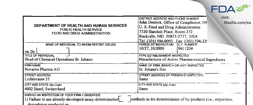 Novartis Pharma AG FDA inspection 483 Oct 2000
