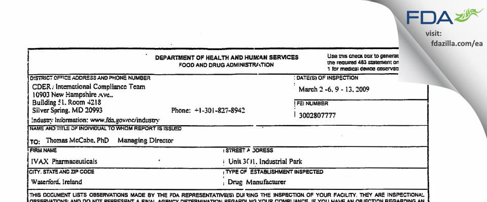 Teva Pharmaceuticals Ireland FDA inspection 483 Mar 2009