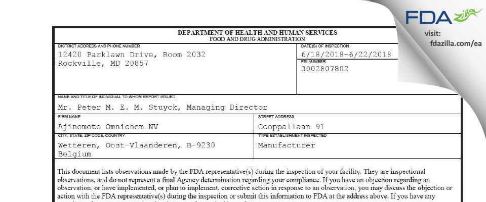 Ajinomoto Omnichem NV FDA inspection 483 Jun 2018